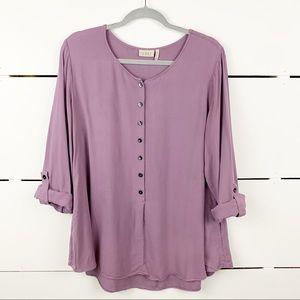 LOGO LORI GOLDSTEIN Popover Blouse Purple Size 16